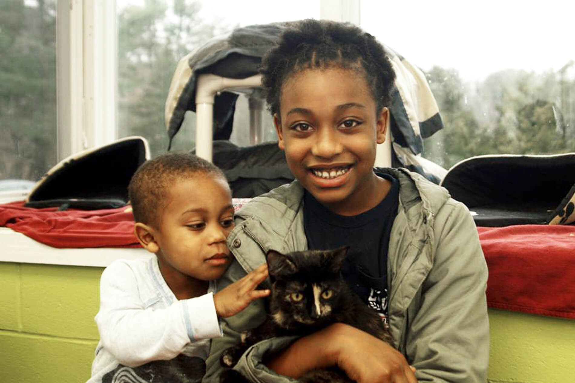 Providence Animal Center 2 kids with a cat