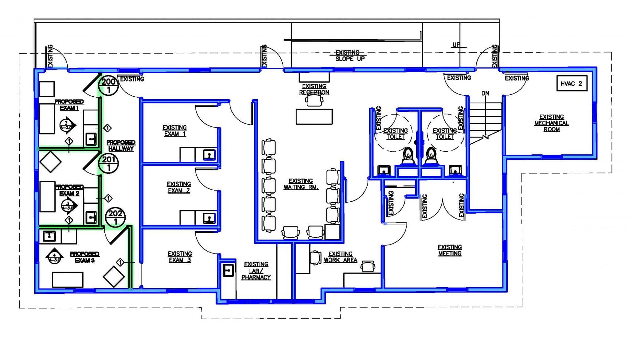 New floor plan with Phase 1 complete.